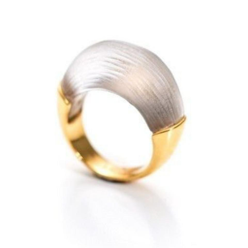 Alexis Bittar Silver Green and Gold Half Dome Lucite Ring