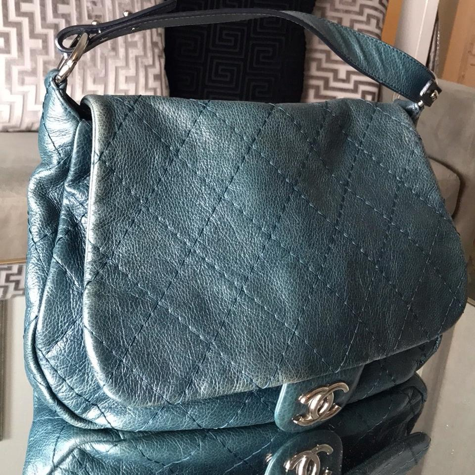 Flapon Chanel Classic Flap On The Road Quilted Blue Leather Hobo Bag 63 Off Retail