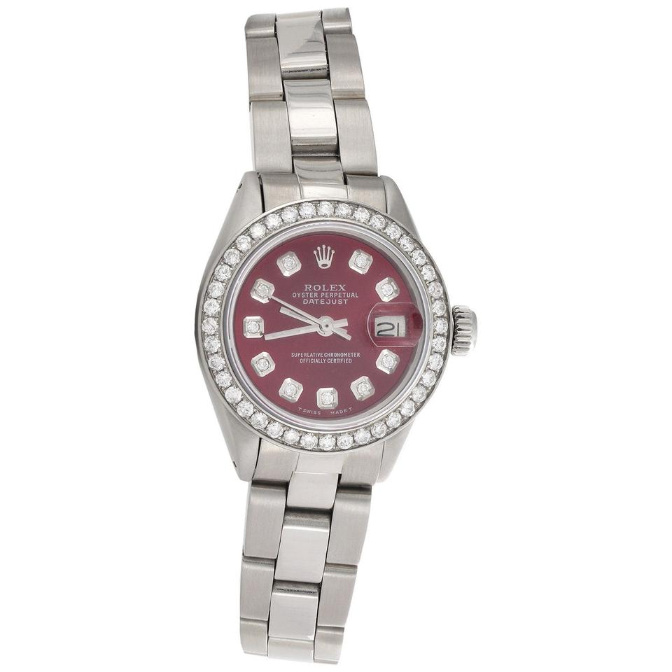 Steel Rolex Rolex Stainless Steel Red Dial Ladies 6917 Datejust 26mm Diamond Oyster Band 1 Ct Watch 50 Off Retail