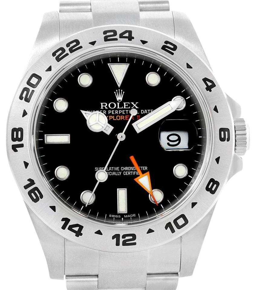 Rolex Explorer Rolex Black Explorer Ii 42mm Dial Orange Hand Mens 216570 Watch