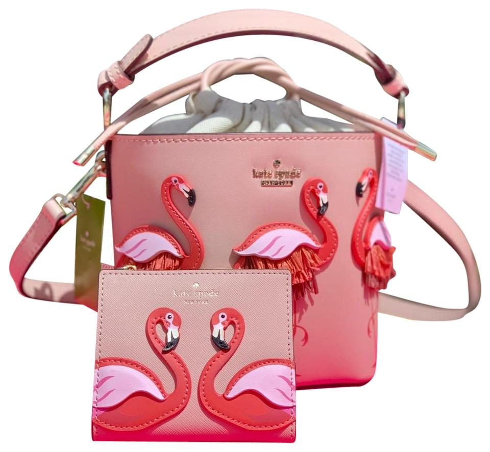 By The Pool Flamingo Kate Spade Kate Spade Bucket Flamingo By The Pool Pippa Wallet Set Leather Cross Body Bag 38 Off Retail