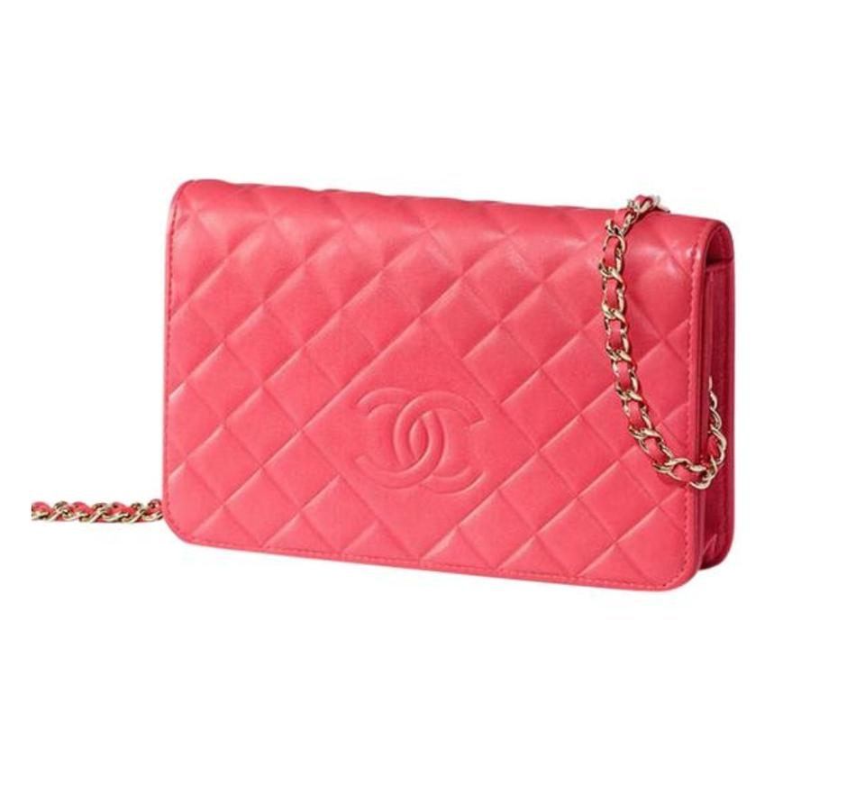 Mini Vs Woc Chanel Pink Fuchsia Silver Classic Flap Crossbody Woc On A Chain Timeless Cc Button Logo Mini Bag Wallet