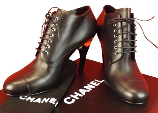 Chanel Black Leather Lucite Pearl Heel Lace Up Ankle Boots
