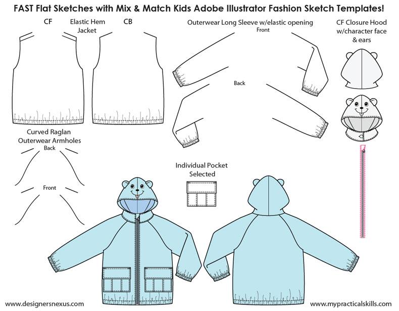 Kids Illustrator Flat Fashion Sketch Templates - My Practical Skills - fashion template