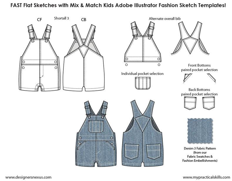 Kids Illustrator Flat Fashion Sketch Templates - My Practical Skills