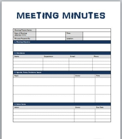 ms word minutes template