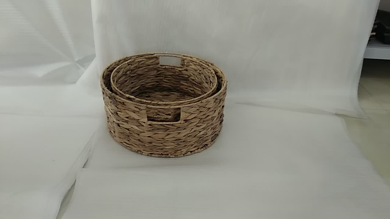 Couchtisch Tating Multifunctional Water Hyacinth Natural Color Round Grass Storage Basket Factory Set Of 2 With Cut Out Handles Buy Household Kitchen High Quality Grass Waterhyacinth Basket Sundries Storage