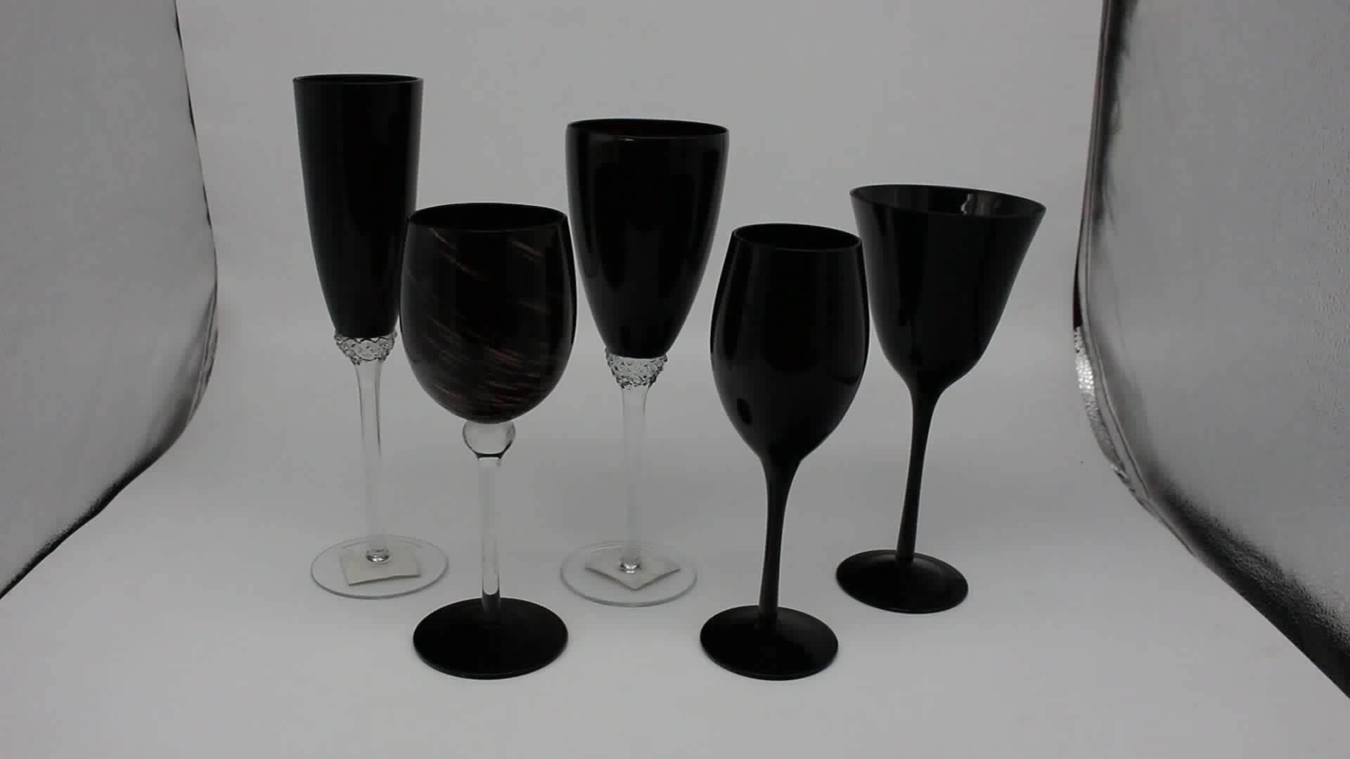 Wine Glasses With Black Stems High End Handmade Black Colored Wine Glasses With Clear