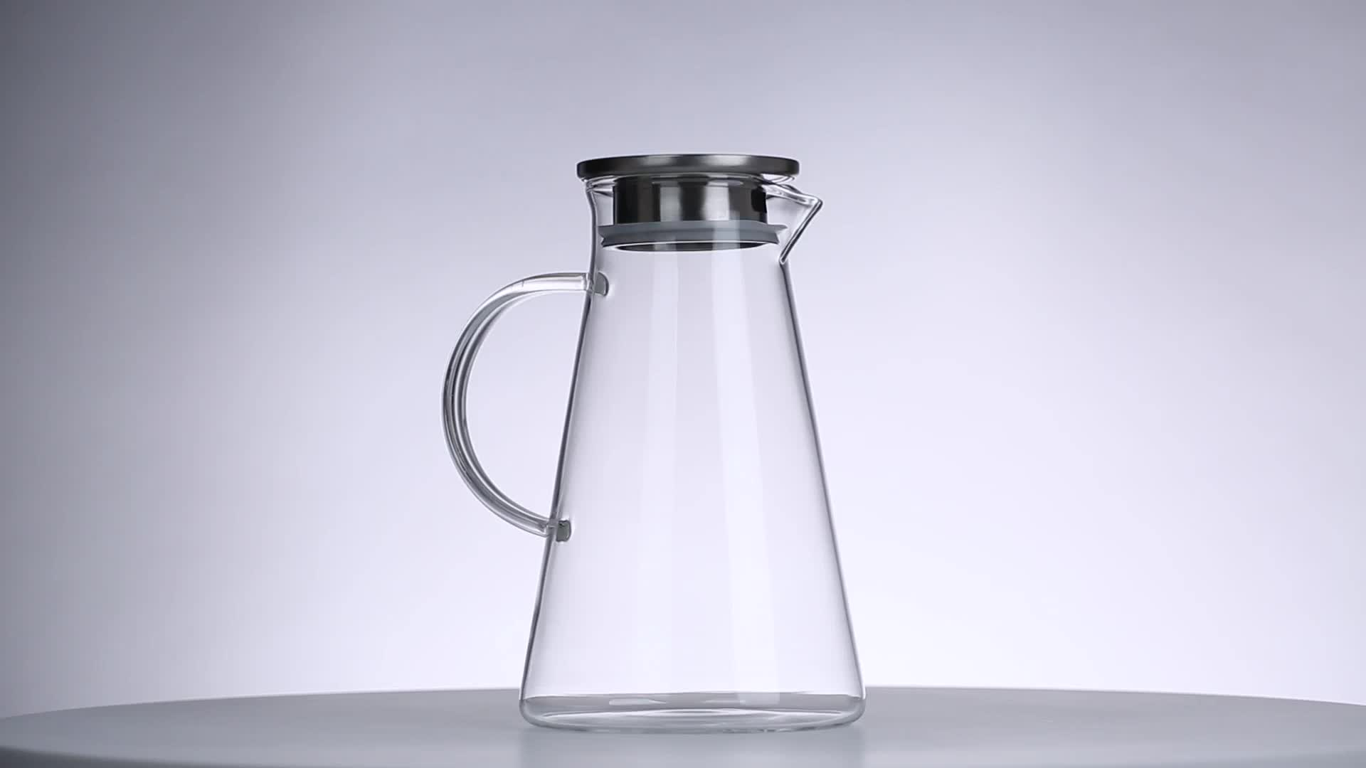 Small Glass Pitcher With Lid Triangulation Cold Water Pitcher With Lid Jug Cafe 1000ml