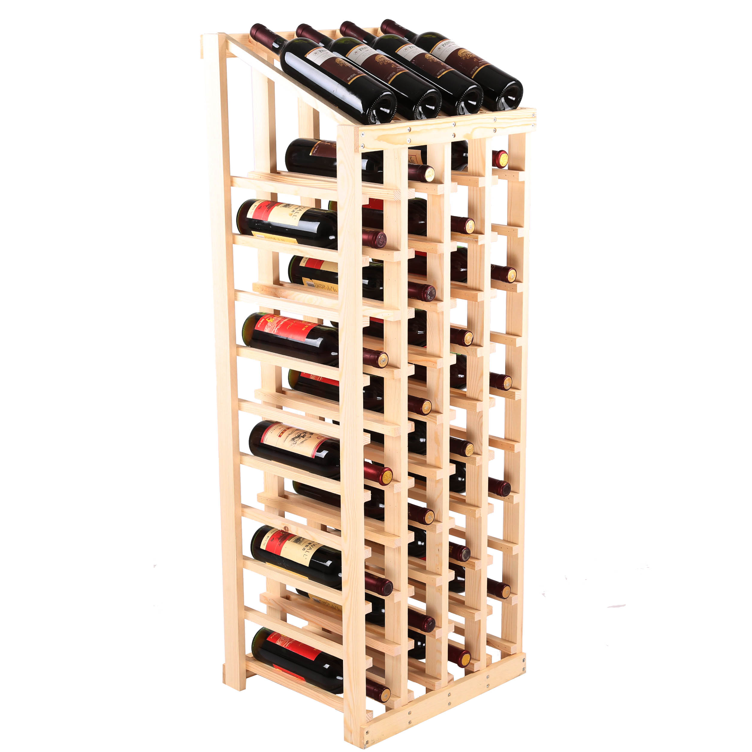 Wooden Bottle Rack Red Wine Rack Full Solid Wood Display Stand Wooden Wine Bottle Rack