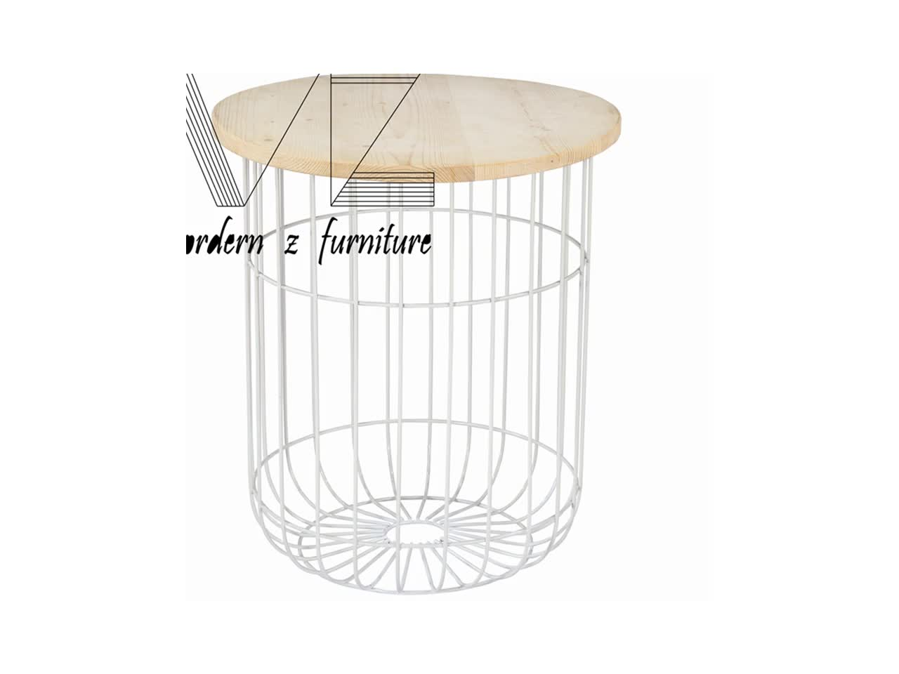 Buy Side Table Nordic Style Black Metal Wire Basket Wooden Top Side