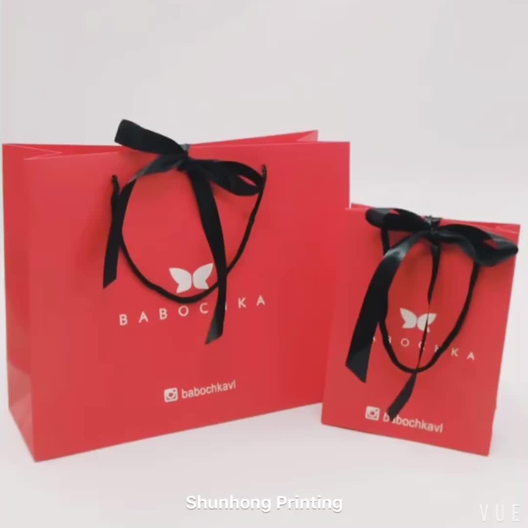 Paper Gift Bags Wholesale Luxury Small Paper Shopping Bag Ribbon Tie Cheap