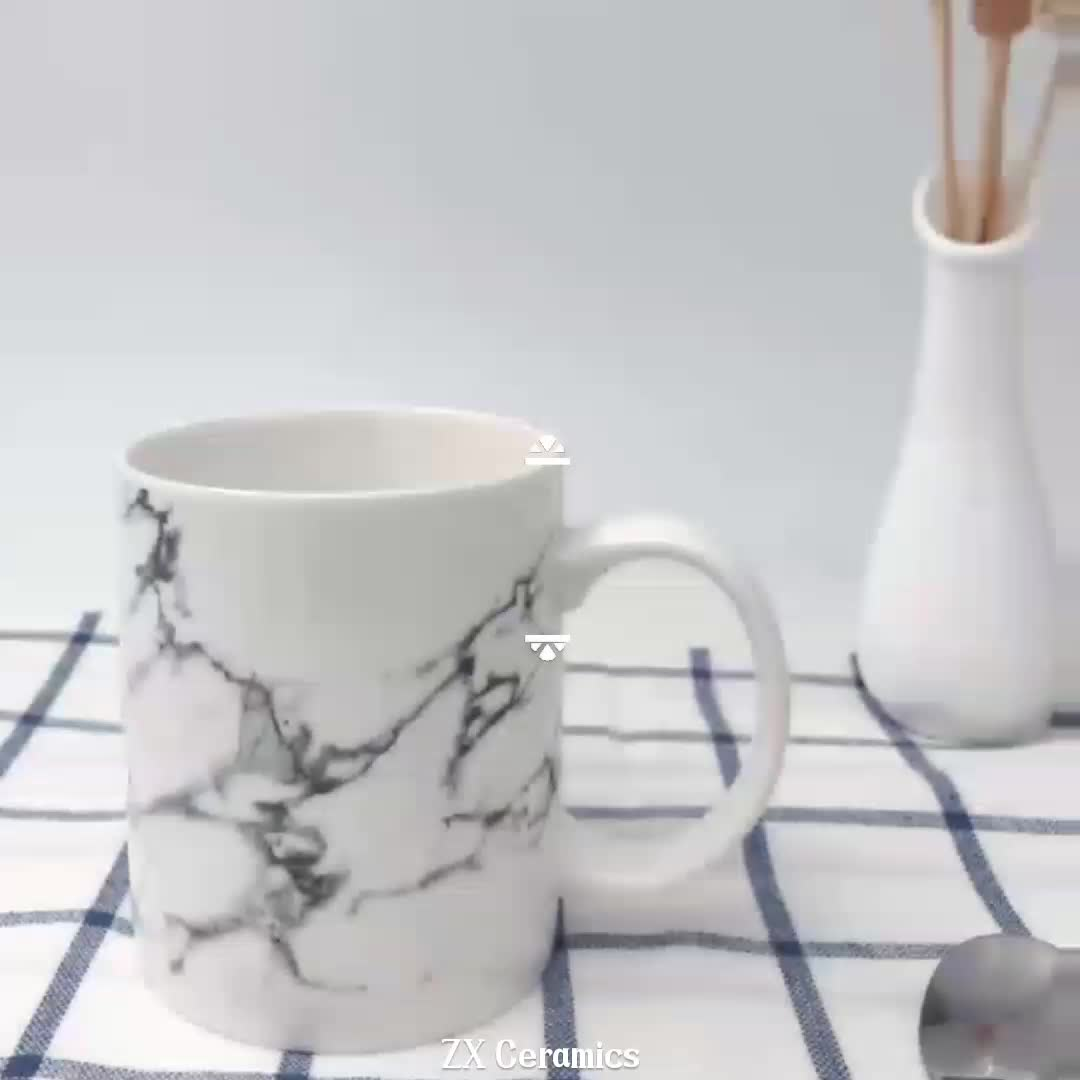 White Ceramic Coffee Cups Wholesale Porcelain Modern Marble White Ceramic Beer Tea