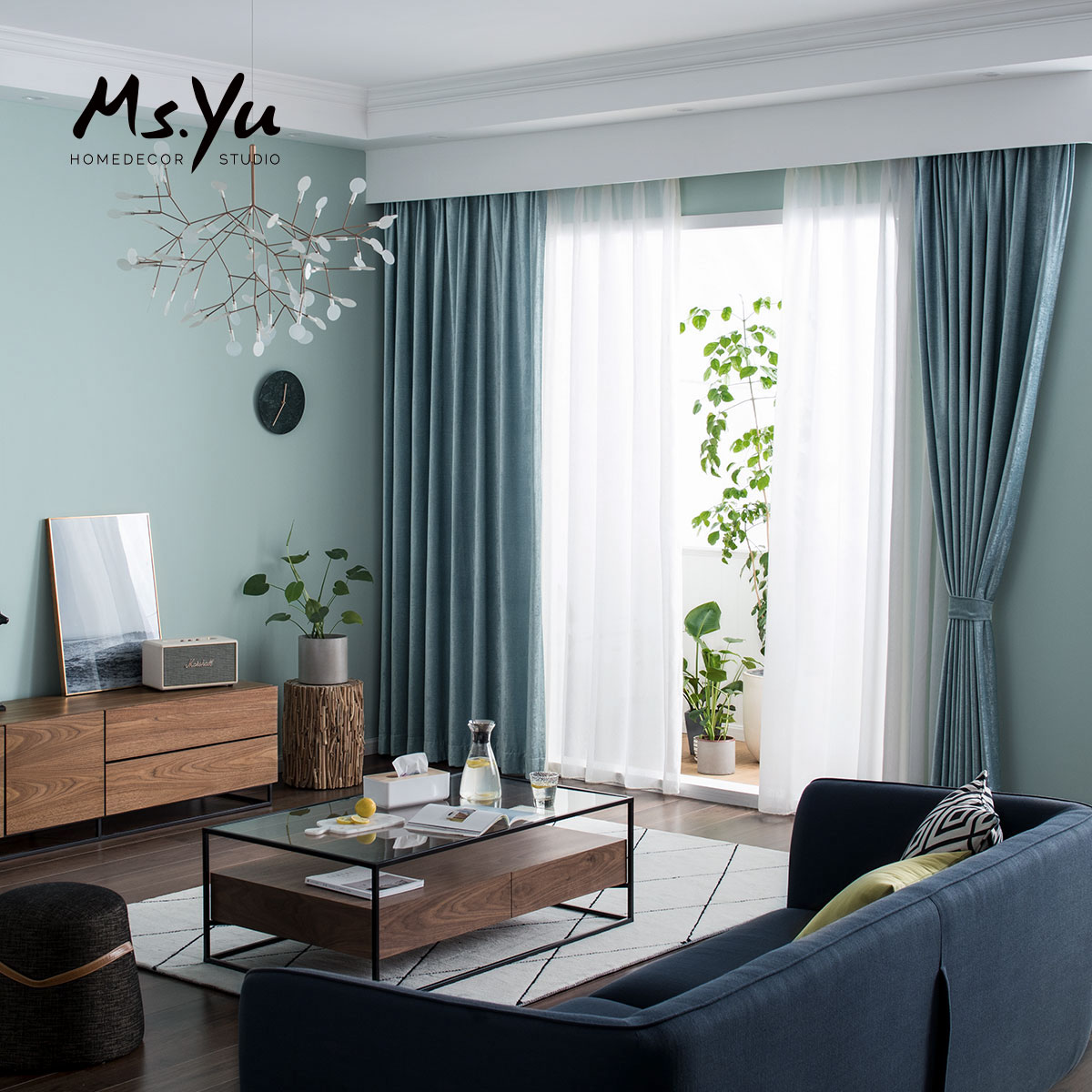 China Blue Curtains Curtains Nordic Lake Blue Bay Window Curtains Miss Yu Soft Design Room Custom Living Room Floor Curtains