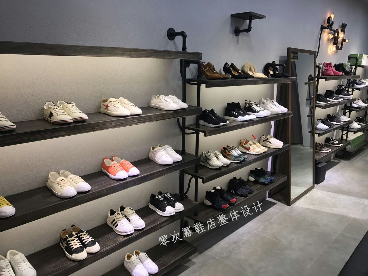 Retro Shoe Store Shoe Rack Display Stand On The Wall Multi