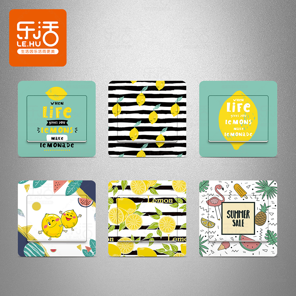 Renovation Decoration Soft Sister Room Renovation Switch Stickers Self Adhesive Paper Fashion Lemon Small Fresh Socket Stickers Switch Decoration