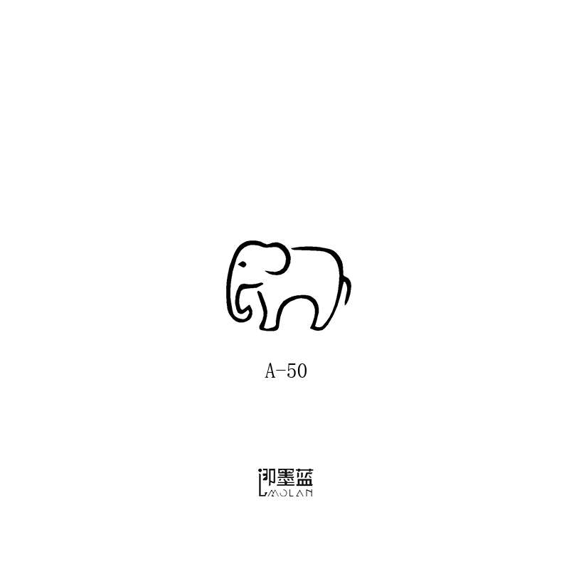 USD 483 Ink blue light tattoo semi-permanent juice tattoo cutout - elephant cut out template