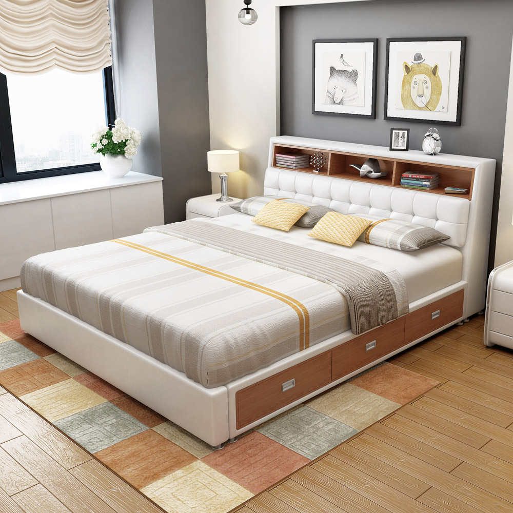 Leather Bed Small Size Leather Bed Leather Bed Storage Bed Double Bed 1 8 M Soft Bed High Box Modern Simple Leather Art Bed Marriage Bed