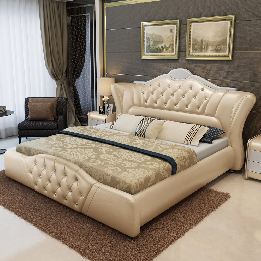 Leather Bed Leather Bed European Princess Double Bed Leather Bed Storage Leather Bed Modern Wedding Bed Master Bedroom Tatami