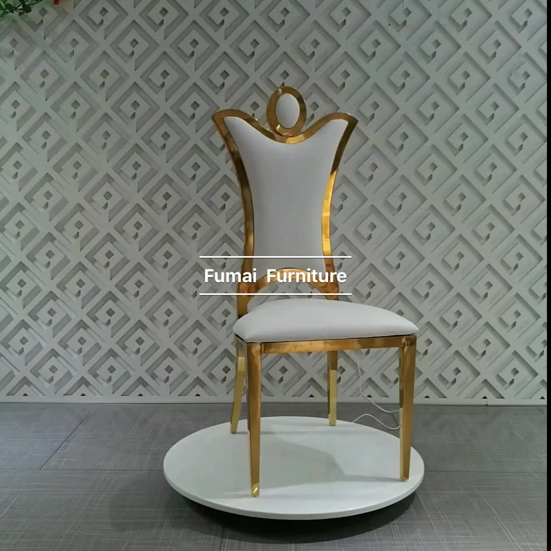 Luxury Chairs For Wedding High Back Carved Design Metal Luxury Wedding Stainless