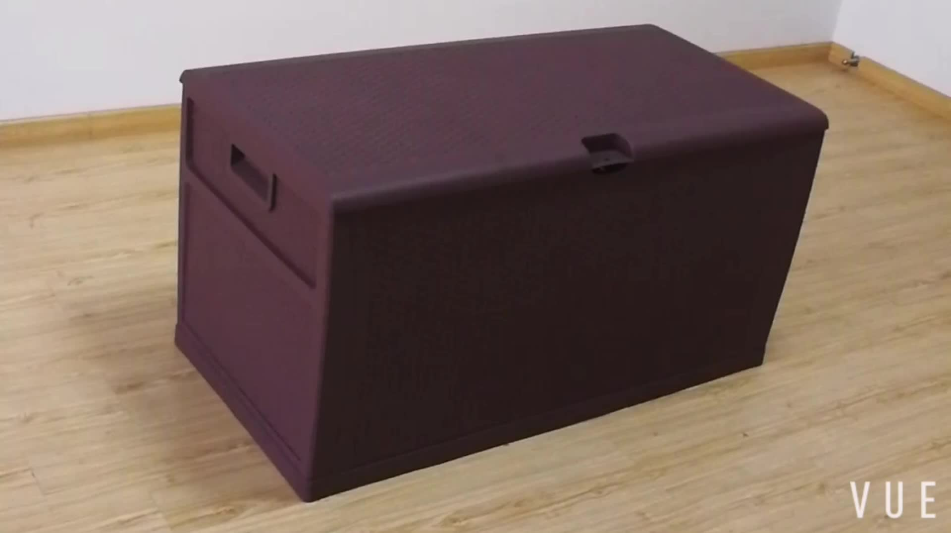 460l Garden Box Plastic Outdoor Storage Box In Rattan Look