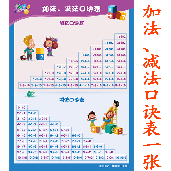 Children 10 In addition to subtraction multiplication and division - subtraction table