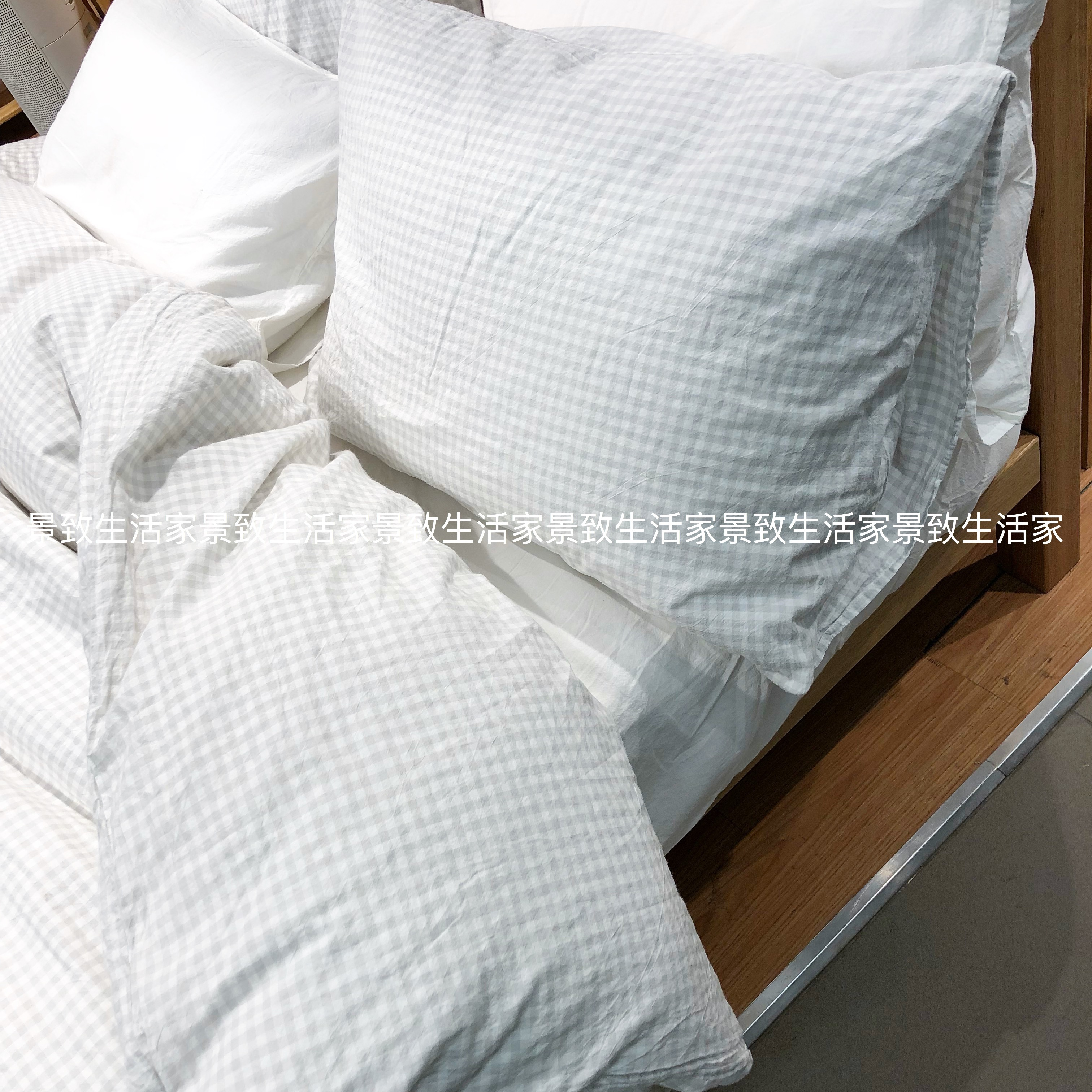Muji Bed Sheets Muji Washed Cotton Bedding Pillowcase Cotton Pillowcase Solid Color Check 43 63 50 70cm Domestic Purchasing