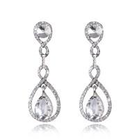 Luxury Bridal Crystal Floral Teardrop Diamante Dangle ...