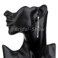 Bridal Silver Diamante Crystal Rhinestone Long Drop/Dangle ...