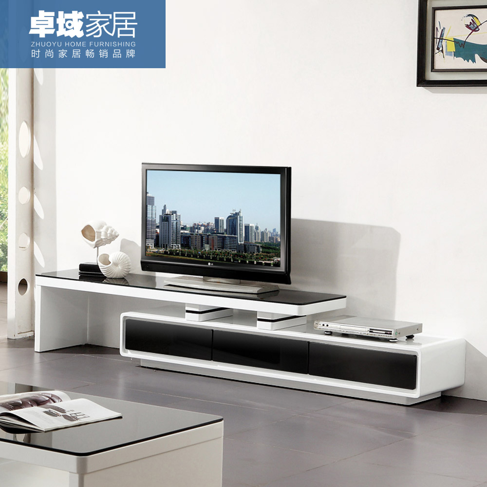 Modern Tv Tv Cabinet Simple Modern Tv Cabinet Paint Retractable Living Room Combination Fashion Audio Visual Cabinet Black And White Glass Special