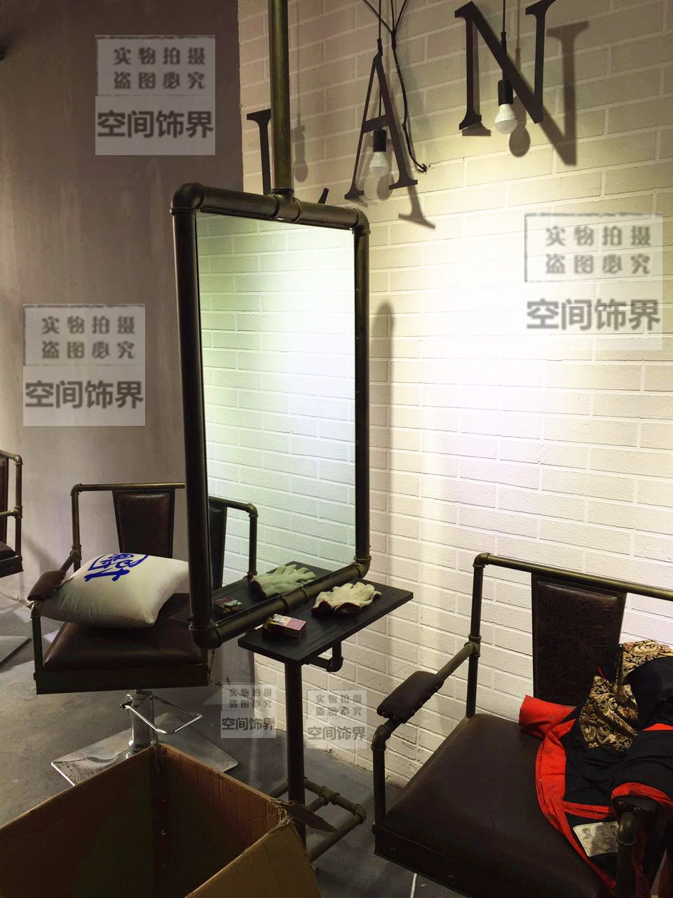 Salon Industrial Industrial Wind Barber Shop Mirror Iron Hairdressing Beauty Salon