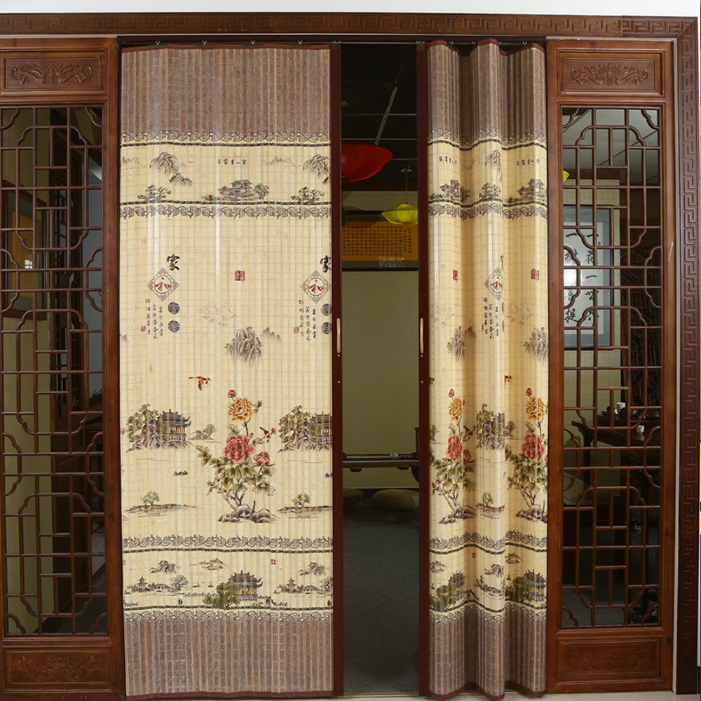 Sliding Door Curtain Bamboo Sliding Door Sliding Door Curtain Folding Door Bamboo Curtain Curtain Shutter Printing Blackout Partition Simple Door Bamboo Curtain Door