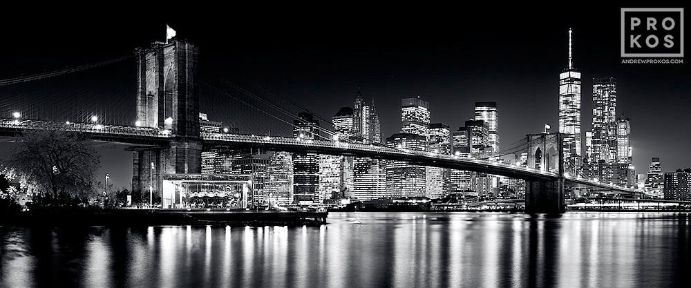 Brooklyn Bridge Wallpaper Black And White Panoramic Skyline Of Brooklyn Bridge And Manhattan At