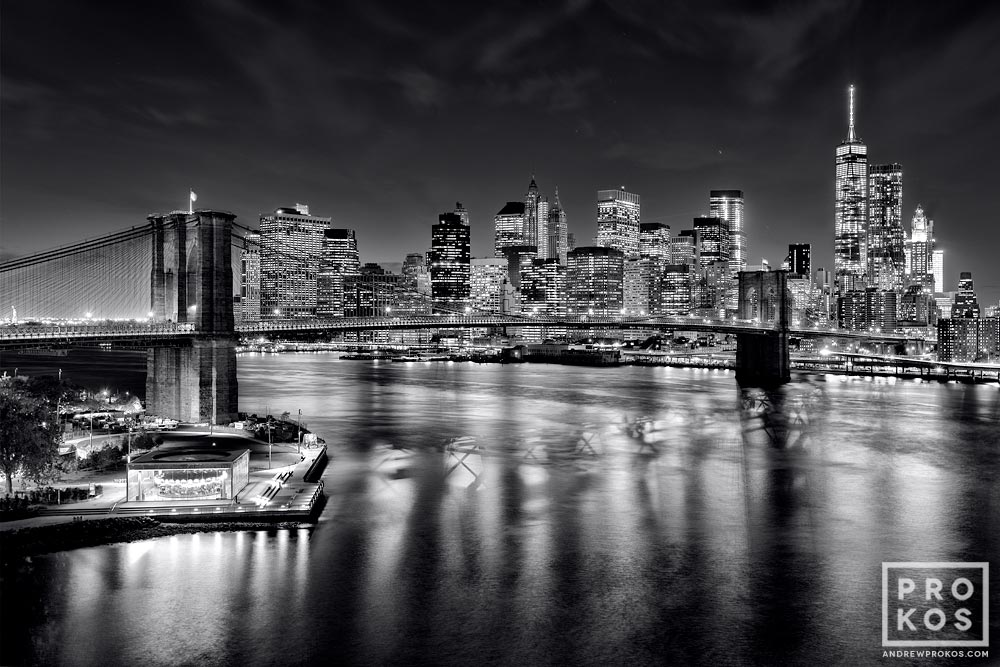 Brooklyn Bridge Wallpaper Black And White Brooklyn Bridge And Lower Manhattan Skyline At Night B Amp W