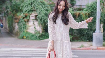【一日穿搭】終於放晴了♡穿著美麗的米色蕾絲洋裝約會去!