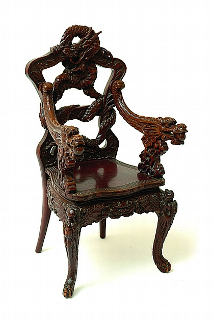 A Chinese Qing Dragon Chair Decorative Arts