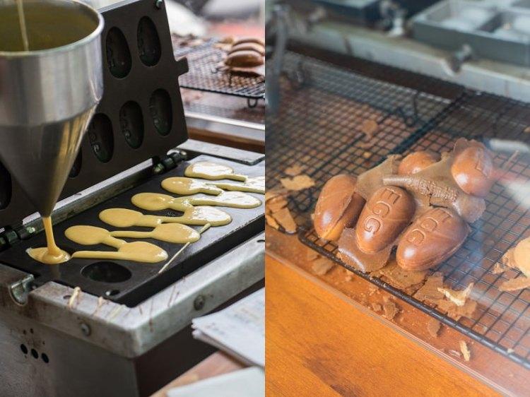 審計新村魚刺人雞蛋糕|台中超夯偉士牌雞蛋糕,巧遇魚刺人,深色雞蛋糕香氣濃郁。