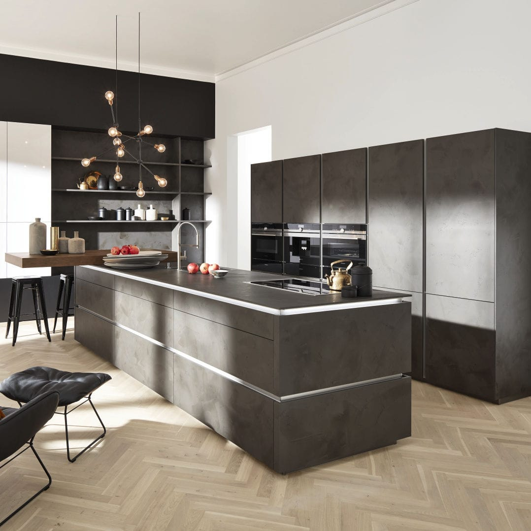 Küchen Nolte Contemporary Kitchen Laminate Island Handleless Portland