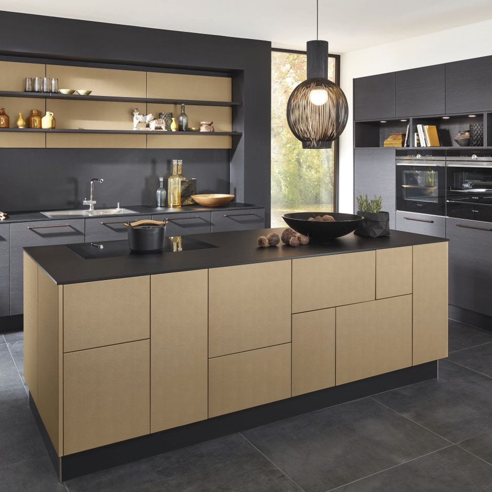 Küchen Nolte Contemporary Kitchen Oak Laminate Island Nappa Inca Nature