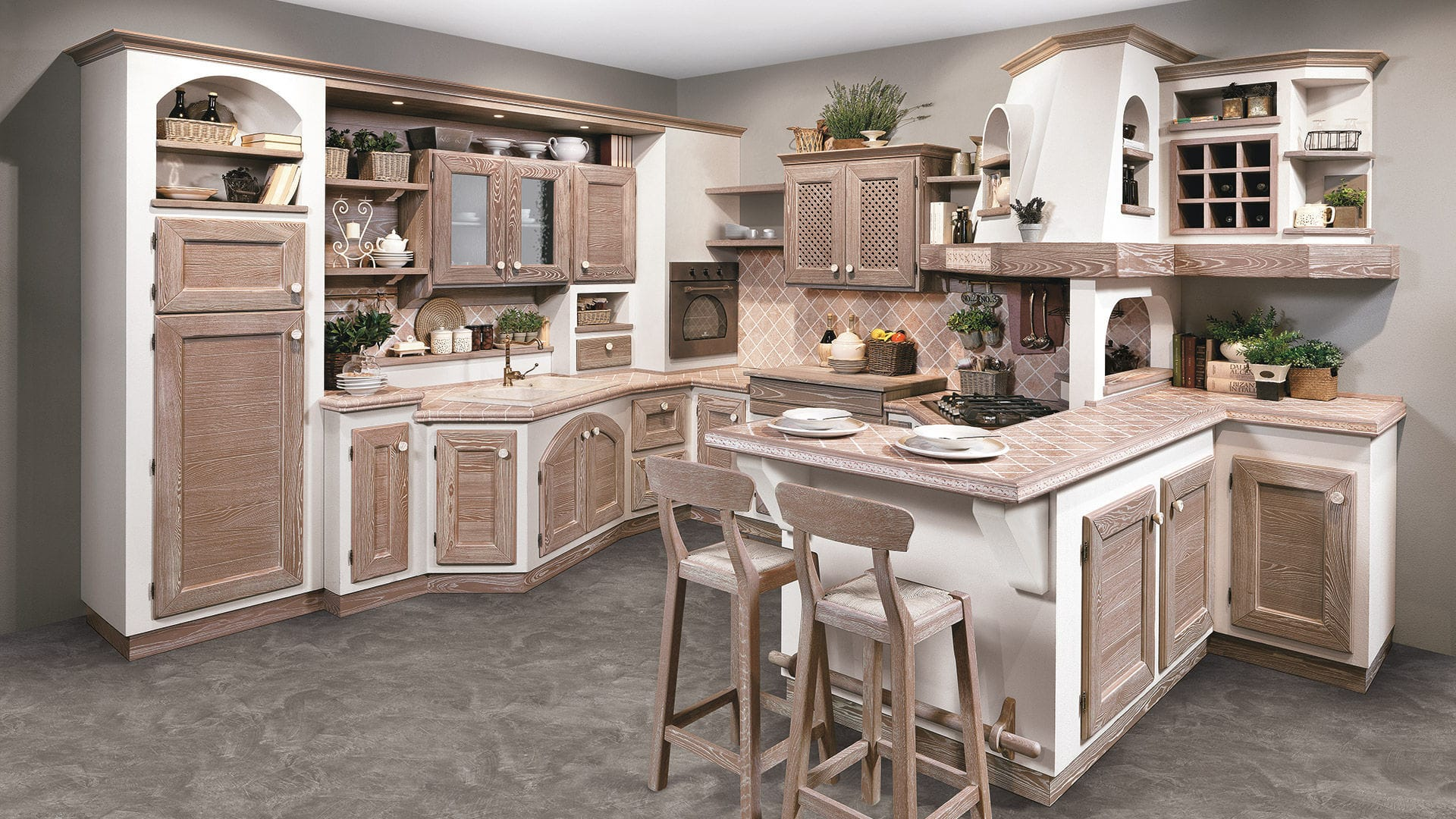 Cucina Lube Noce Traditional Kitchen Walnut Ash With Handles Luisa Cucine