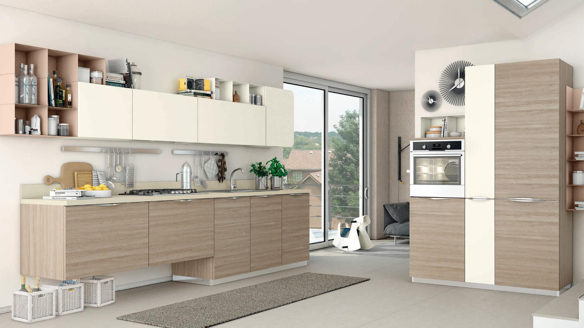Cucine Lube Design Contemporary Kitchen Wood Veneer Lacquered With Handles Immagina Cucine Lube