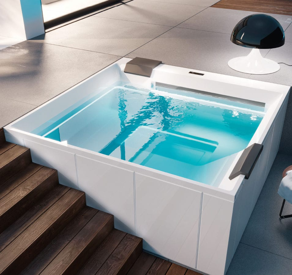 Jacuzzi 4 Places Interieur Above Ground Hot Tub Square 4 Seater Indoor Wave By Marc
