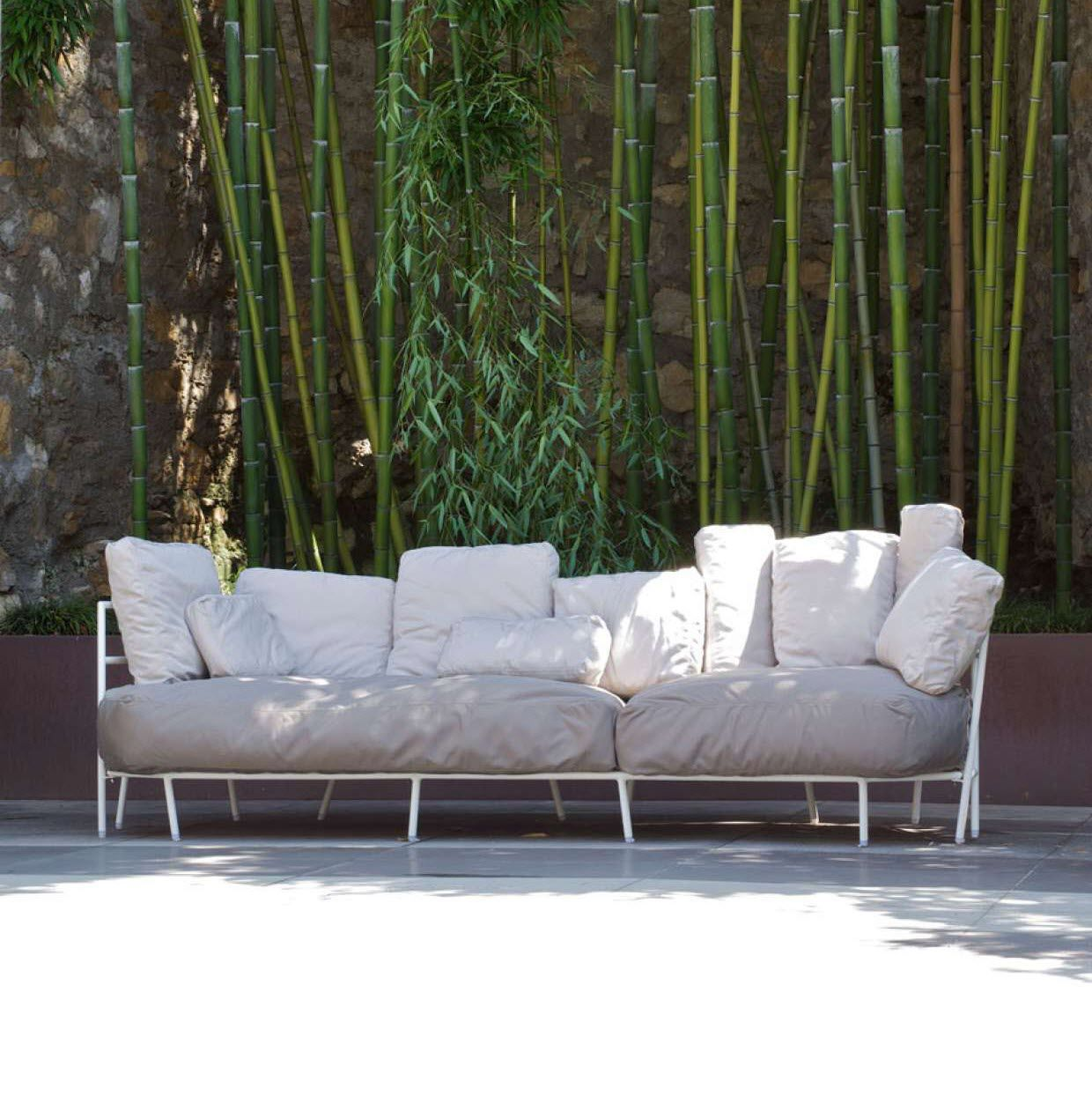 Garden Sofa Two Seater Contemporary Sofa Garden Acrylic Fabric Steel Dehors