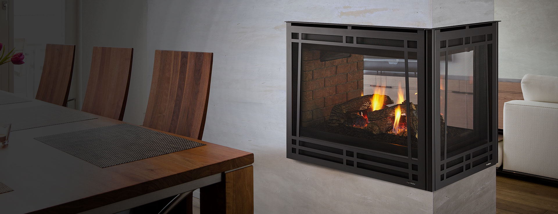 Novus Fireplace Gas Fireplace Traditional Closed Hearth 3 Sided Peninsula