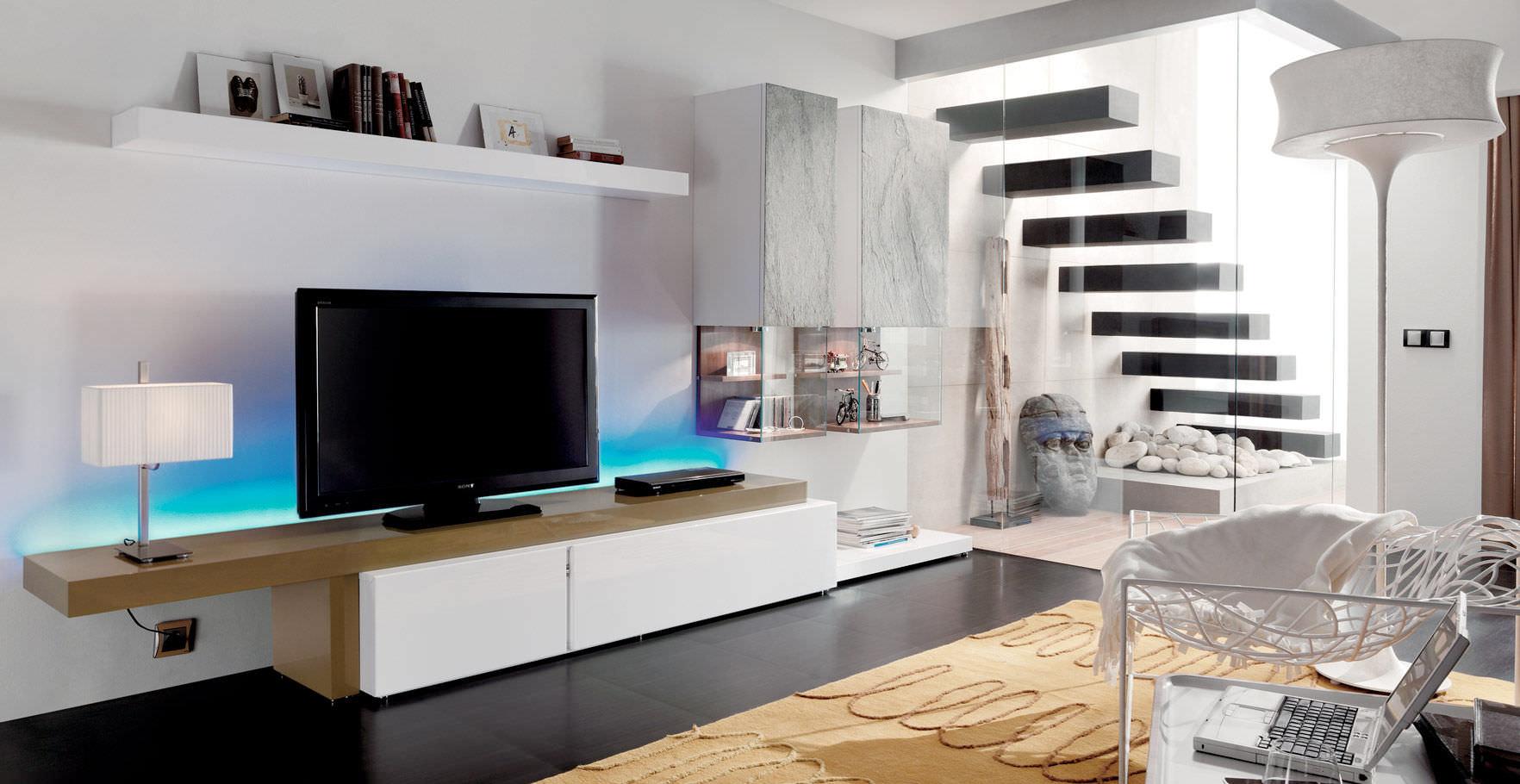 Mobile Soggiorno Ebay | Mobile Porta Tv Laccato Bianco Piano Noce X ...