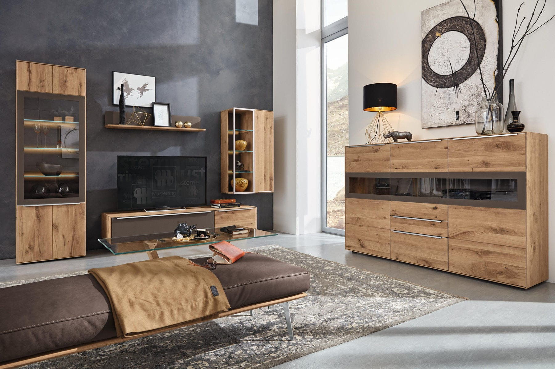 Contemporary Tv Wall Unit Palmira Musterring Solid Wood Glass