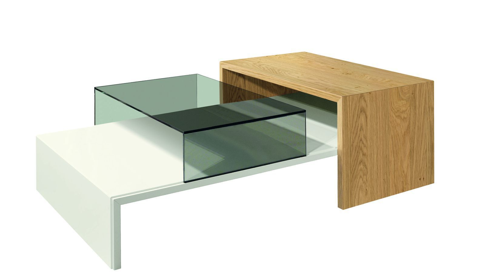 Design Couchtisch Spin Contemporary Coffee Table Glass Oak Lacquered Wood Now No