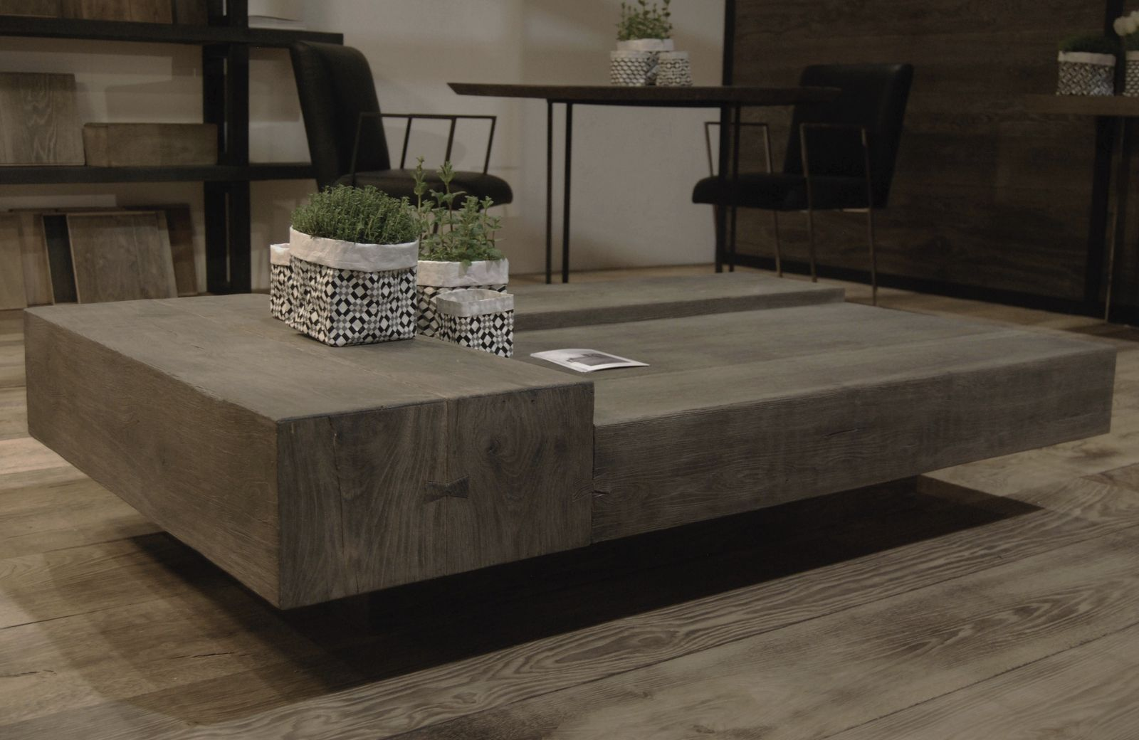 Contemporary Coffee Table Basse Cabuy Didier Oak Rectangular Square