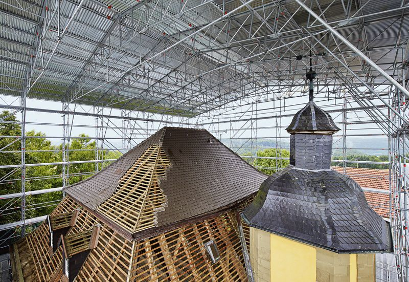 Metal roof system / double-slope / modular / free-standing - LAYHER