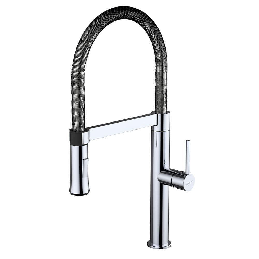 Kitchen Mixer Tap Chrome Plated Brass Mixer Tap Kitchen 1 Hole With Pull Out Spray